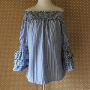 Tops - NWOT Blue ruffles shirt off-shoulder size large
